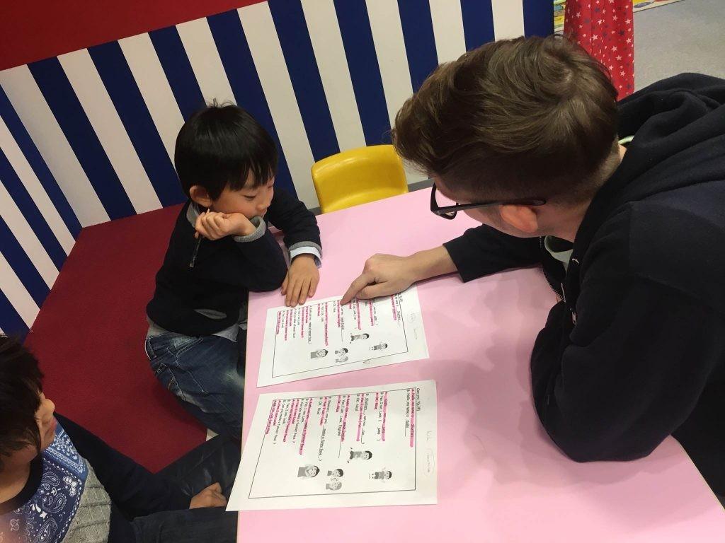 府中|英会話・小学生クラス|英語のシナリオを作って発表会の練習!